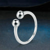 Women's Silver Fashion Ring With Two Balls