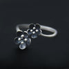 Double Flower Sterling Silver Open Ring for Women