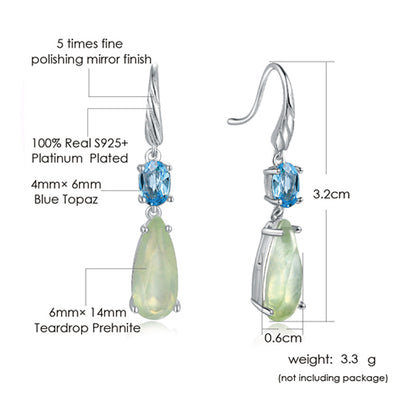 Women's Prehnite and Blue Topaz Tear-Drop Earrings