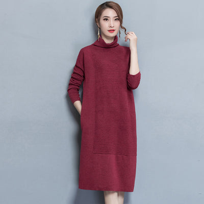 Women's Dresses – Elegant, High-Neck, Loose Style, Knitted Dress