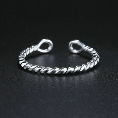 Women's Silver Twisted Rope Ring