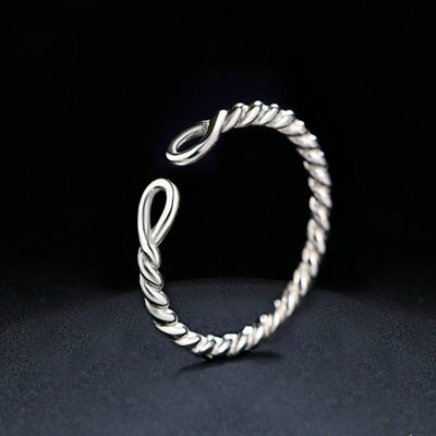 Sterling Silver Twisted Rope Ring for Women