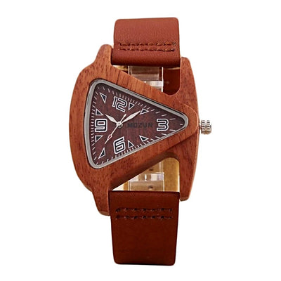 Luxury fashion crafted sandalwood analogue watch with authentic brown leather strap