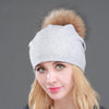 Women's Beanies with Detachable Raccoon Fur Pompom