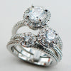 Women's Ring - Sterling Silver And Crystal Zircon Triple Ring