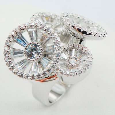 Women's Ring - White Crystal Zircon And Sterling Silver