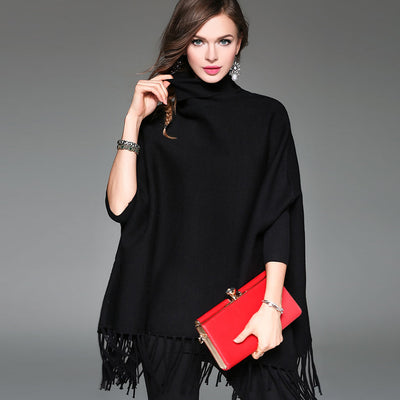 2018 High Street Fashion - Knitted Turtleneck Woollen Cape For Women
