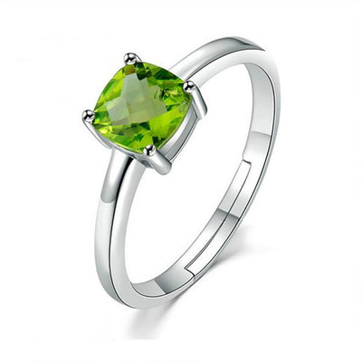 Square Cut Green Peridot And Sterling Silver Ring for Women