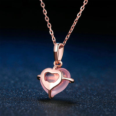 Women's Pendant Necklace - Rose Pink Heart Shape Quartz