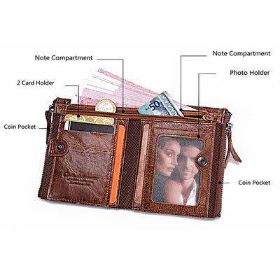 Men's Leather Wallet - Stylish Twin Zipper Compartments