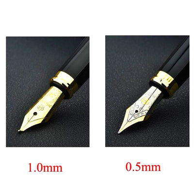 Fountain Pen - Luxury Black And Gold Pen With Gold Tip Iraurita Nibs