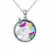 Trendy Sterling Silver and Colorful Enamel Unicorn Necklace
