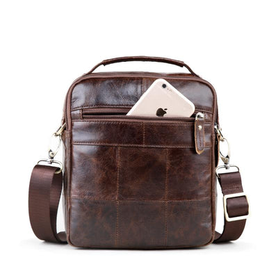 Brown Genuine Leather Messenger Bag for Men