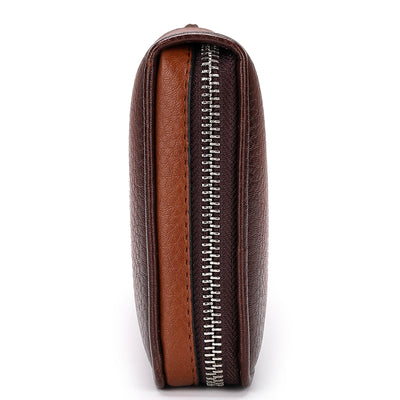 Men's Leather Wallet - Zipper Clutch Style