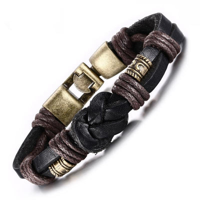 Men's Charm Bracelet - Bronze Alloy And Leather Rope Chain