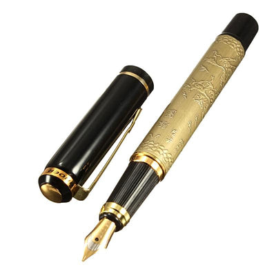 Ornate Decorated Gold and Black Chinese Calligraphic Fountain Pen with Gold Nib