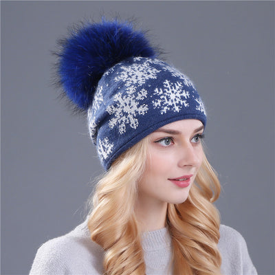 Women's Beanies - Wool Knit With Mink Fur Pom Pom