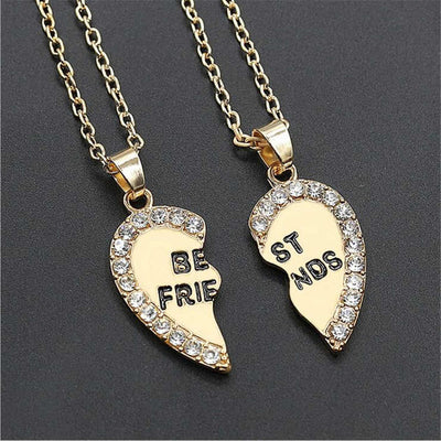 Women's Jewelry - Crystal Heart Fashion Pendant Necklace Split Pair