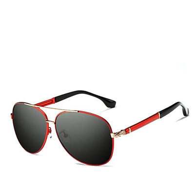 Polarized Retro Pilot Sunglasses For Men - Gold And Red Frames