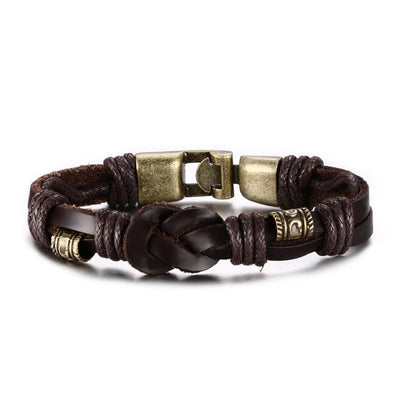 Men's Leather And Bronze Fashion Bracelet