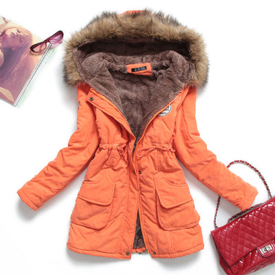 Women's Casual Broadcloth Winter Jacket with Goose Down Padding and Fur-Lined Hood