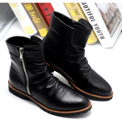 Men's Dress Boots - Black Leather