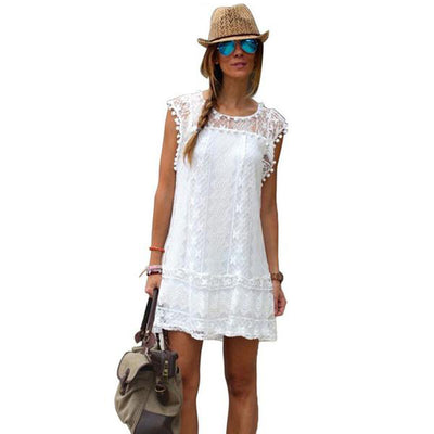 Casual Short Sleeveless White Lace Summer Dress For Women