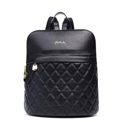 Women's Backpacks - Genuine Leather Diamond Fashion Texture