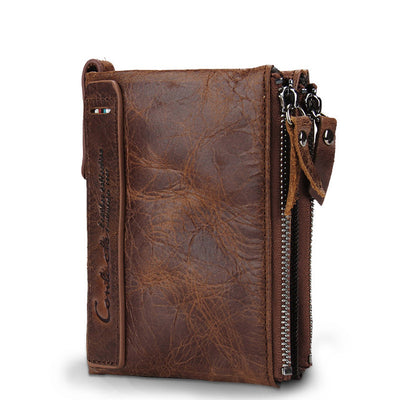 Men's Leather Wallet - Twin Zipper Compartments -  Genuine Leather