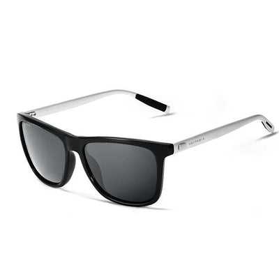 Classic rectangular style, aluminium frame polarized sunglasses for men