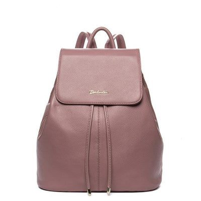 Women's Designer Fashion Backpacks - Genuine Leather with Drawstrings