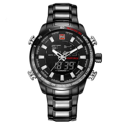Analogue & Digital Display chronograph luxury sports watches for men in optional colour combinations, black, silver straps & casings, black or gold face, white or red markers