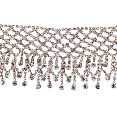 Women's Silver and Gold Crystal Choker Necklace
