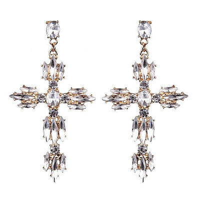 Women's Earrings - Cross Shape Crystal Pendant