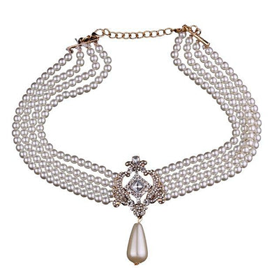 Women's Luxury Rhinestone and Imitation Multilayer Pearl String Choker Necklace