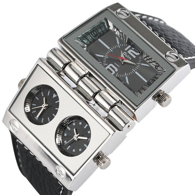 Helios Pacesetter Men's Luxury Designer Watch - Eccentrique Precisionist Collection Silver Watches with leather watch straps