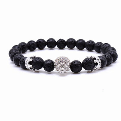 Men's Fashion Bracelets - Lava Stone And Crystal Skull