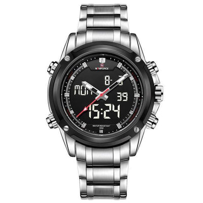 Military-Style Sports Digital and Analogue Chronograph Watch for Men