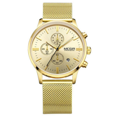 Luxury Gold, Silver or Black Chronograph Business or Fashion Dress Watches for Men - nice watches for men