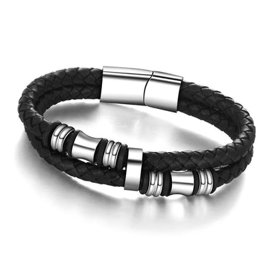 Designer Fashion Bracelet - Genuine Woven|Braided Leather And Stainless Steel