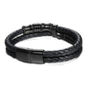 Men's Designer Bracelet - Leather And Stainless Steel