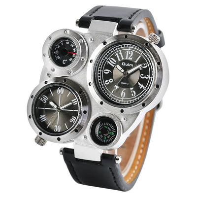 Stratos Combinator - Vintage Fashion Men's Watch - Eccentrique Precisionist Collection Fashion Watches with leather watch straps