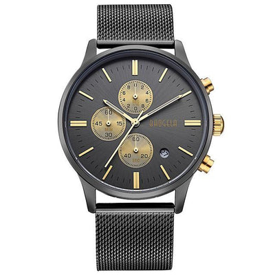 Business And Dress Quartz Chronograph Watch with 3 sub-dials in duo-tones of black & gold, rose gold, gold & white