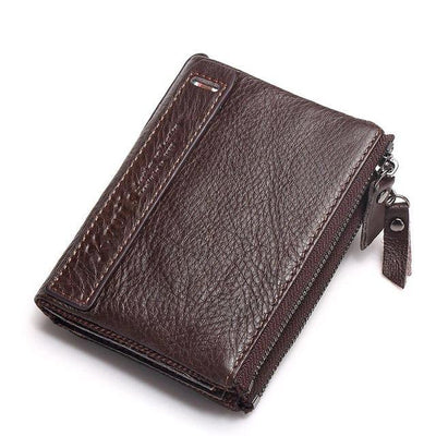 Men's Leather Wallet - Bifold With Zippers
