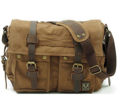 Designer Vintage Canvas and Leather Messenger Bag for Men
