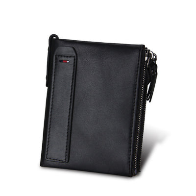 Men's Genuine Leather Wallet - Two Zipper Compartments