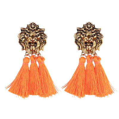 Women's Earrings - Lions Head Rope Tassels