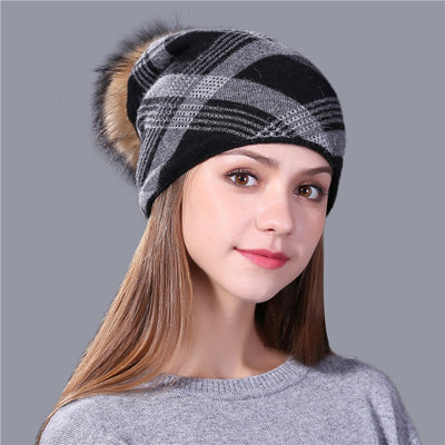 Women's Beanies - Plaid Knitted Wool And Fur