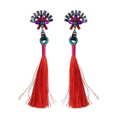 Women's Trendy Fashion Crystal Pendant Stud Earrings with Tassels