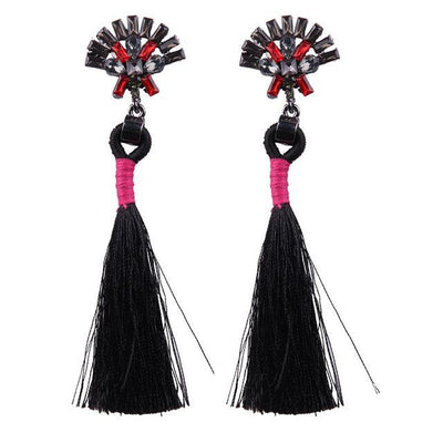 Women's Fashion Earrings - Tassel Pendant With Crystal Beads
